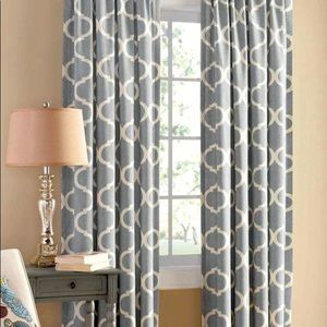 Curtains / Panels with pattern grey and tan sets